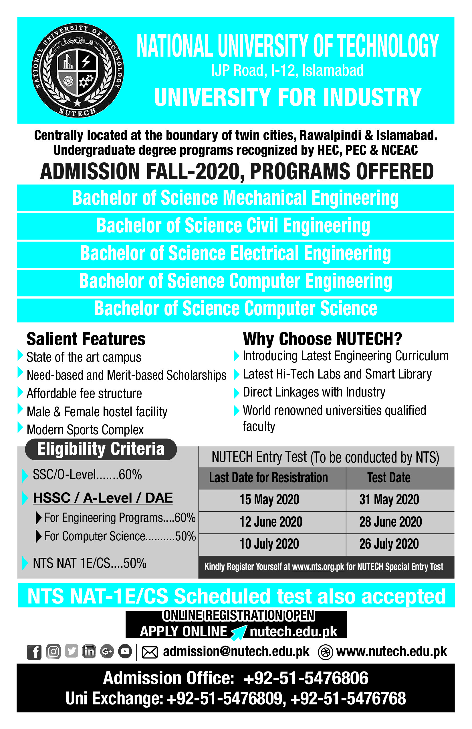 NUTECH Fall Admission 2020
