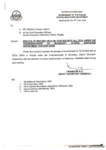 SED Punjab Minutes Of Meeting