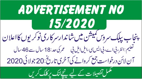 PPSC Advertisement No 15/2020