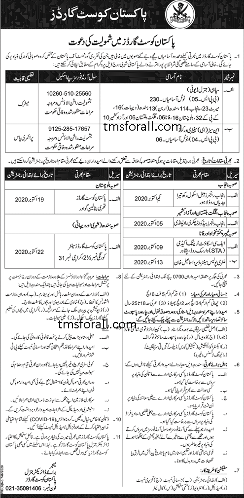 Pakistan Coast Guards Jobs 2020:Applications are invited from the Pakistanis Nationals for the posts of Sepoy And Sanitary Workers In Pakistan COAST GUARDS