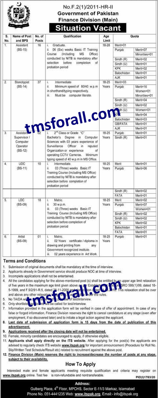 Finance Division Jobs 2020